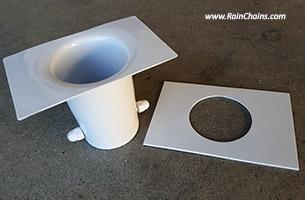 Rain Chain Aluminum Installation Kit #RCR-2 with WHITE powdercoating